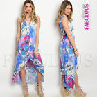 Sexy Buttoned Sleeveless Floral Crochet High Low Summer Dress Size 8 10 12 S M L