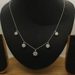 1.40Ct Round D/VVS1 Diamond 14K Solid White Gold Flower Station Choker Necklace