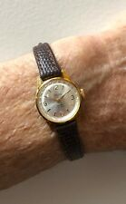 NOS Velma First Moscow Watch Factory Ladies Soviet Leather Mechanical 17J Watch
