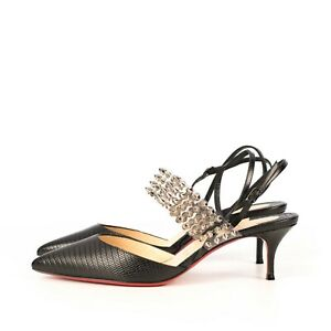 CHRISTIAN LOUBOUTIN 895$ Black Leather With An Igauana Pattern Levita 55 Pumps