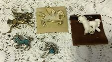 Lot of 5 ~ Unicorn Pegasus Pins ~ Ceramic White Gold Silver Turquoise