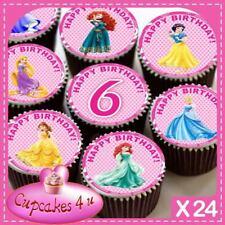 24 X  PRINCESS 6TH BIRTHDAY CUPCAKE TOPPERS EDIBLE CAKE RICE PAPER CC0338