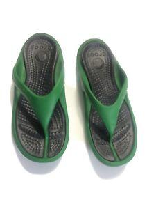 Crocs Flip Flops Sandals, Size: Mens 11 Green Slip On