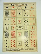VTG 1940's Match The Deals Show Down Card Game Casino Gambling Punch Board # 21
