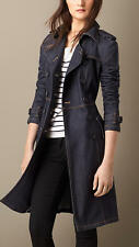 Burberry Bramdale Denim Jean Trench Blue Coat US 2 UK 4 ITA 36 NWT