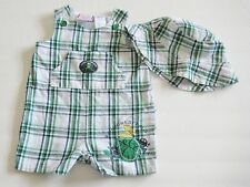 BABY TOGS Size 3-6 Months Boy Green White Sleeveless Bodysuit Romper and Hat Set