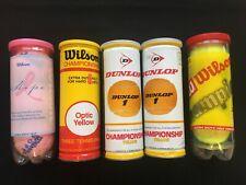 1 Vintage Metal Wilson & 2 Dunlop Metal Tennis Ball Cans + 2 Plastic - 9 Balls