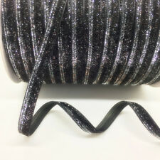 "5yards 3/8"" 10mm Sparkle Glitter Velvet Ribbon Headband Clips Bow Decoration #01"