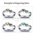 Size 8 Personalised Birthstone Double Hearts 925 Sterling Silver Ring, Engraving