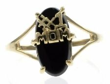 #1 Mom With Black Onyx Ladies Ring in 10 K Yellow Gold.