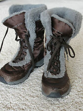 Lands End Brown Quilted Snow boots Girls 12