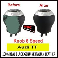 AUDI TT BLACK GENUINE LEATHER GEAR KNOB 6 SPEED COVER ONLY