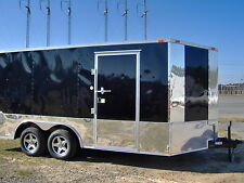 8.5 x16 enclosed motorcycle cargo 4 bike trailer free Harley Davidson decals New
