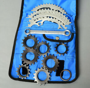 "SUNTOUR Track Kit Bag full of chainrings, cogs, tool etc. 3/32""  + 1/8"". Vintage"