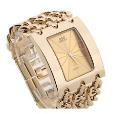 Women's Quartz Wristwatch Wrist Watch Bracelet Gold Alloy Chain Rectangle Dial 1