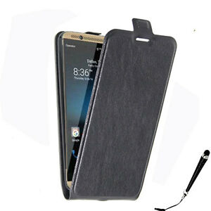 Black Leather Flip Card wallet Case Cover for ZTE Axon 7 + Free Stylus