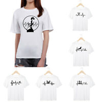 Women White Simple Loose Short Sleeves Print Heart Line Tops Tee Summer T-shirt