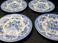 Royal Stafford England ASIATIC PHEASANT Blue Salad Plates - Set of Four EUC
