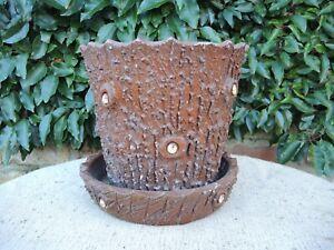 Vintage  Faux Bois Planter with Saucer  Simulated Bark Planter   (16)