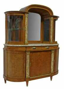 Antique Server, Sideboard, Display, French Marble-Top Burlwood, Mirror, 1900's!!