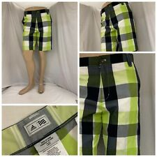 Adidas Golf Shorts 32 Green Plaid Flat Front Polyester Lycra Euc Ygi Q0-259