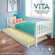 Single Size Roll Out Trundle White Solid Pine Wood Bed Frame Bedroom Furniture