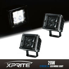 2x 3 Inch 20W Square Spot 4D 5W CREE Fish Eye Optical LED Work Off Road Light
