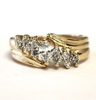14k yellow gold .53ct marquise diamond anniversary ring 5.2g estate vintage