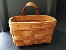 "Longaberger SMALL BASKET 1989 Hand Woven USA 5 3/4"" x 4"" 3 1/2"" tall"