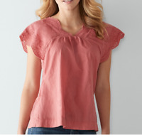 Sonoma Embroidered Eyelet Shirred V-Neck Short Sleeve Blouse Tee Top M L XL  NWT