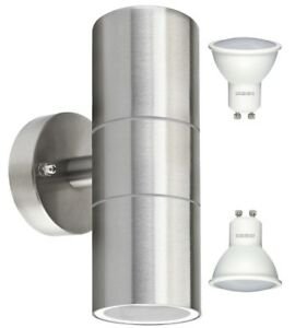 Stainless Steel IP65 Outdoor LED Garden Wall Light Up & Down Cool White Bulbs 03