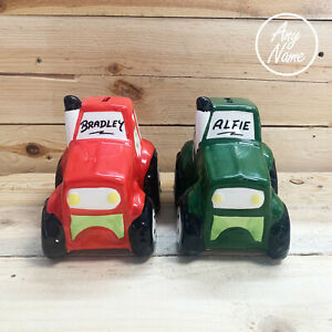 Tractor style ceramic Money Box Personalised with any name free