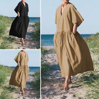 Mode Femme Casual en vrac Demi Manche Col V Loisir Robe Dresse Grande Taille