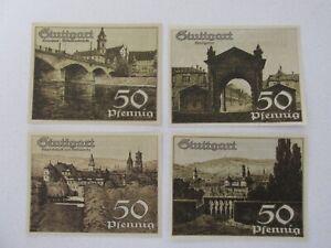 1921 Stuttgart 50 Pfennig Notes Lot of 4