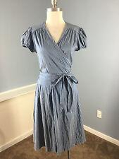 Calypso Celle Bule Silk True Wrap Dress Excellent Career Cocktail S Fit Flare