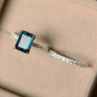 2.90 Ct Emerald Cut Topaz Wedding Band Sets 14K Solid White Gold Diamond Rings