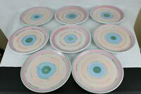 "Lot of (8) Vintage Caleca Cabana Hand Painted Signed Ceramic 11"" Dinner Plates"