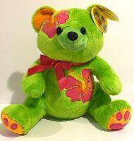 Aloha Animals Makena Green Teddy Bear with Hibiscus Flower