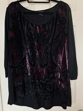 Women's Plus Size Black w/Pink & Purple Blouse/Top by Style & Company ~ 3X