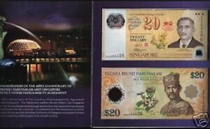 Set SINGAPORE BRUNEI 20 DOLLARS 2007 Commemorative UNC POLYMER 2 NOTE + FOLDER
