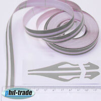 Doppel Zierstreifen Pin Stripe SILBER universal 10m x 10mm incl Anfang + Ende