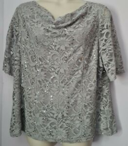 LADIES GREY LACE SEQUINED TOP PLUS SIZE 24