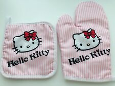 Women Girl Cute Pink Hello Kitty Cook Oven Kitchen Gloves Mitten Pot Holder set