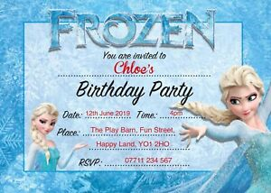 FROZEN PERSONALISED BIRTHDAY PARTY INVITES Pack of 10 Invitations