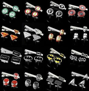 Superhero Stainless Steel Men's Cuff-links With Tie-Clip Clasp Set