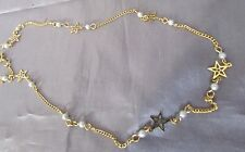 DELICATE STAR AND FAUX PEARL CHOKER DESIGNED GOLD TONE 15 INCH NECKLACE