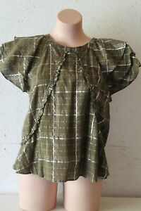 CUSTOMMADE khaki short sleeve blouse top with ruffle detail and sleeves sz 38/M