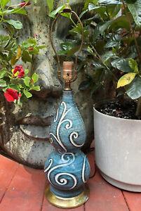 Vintage Mid Century Modern Genie Bottle Blue Ceramic Table Lamp Carved Pattern