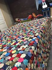 Yo-Yo Bed Spread Old Vintage Antique Mid Century Owsiany Estate Blanket Throw