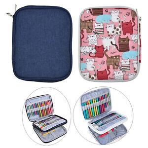 Crochet Hook Case Empty Zipper Bag Organizer w/ Web Pocket Crochet Holders